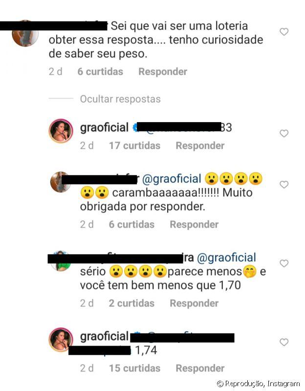 Gracyanne Barbosa responde fã sobre peso