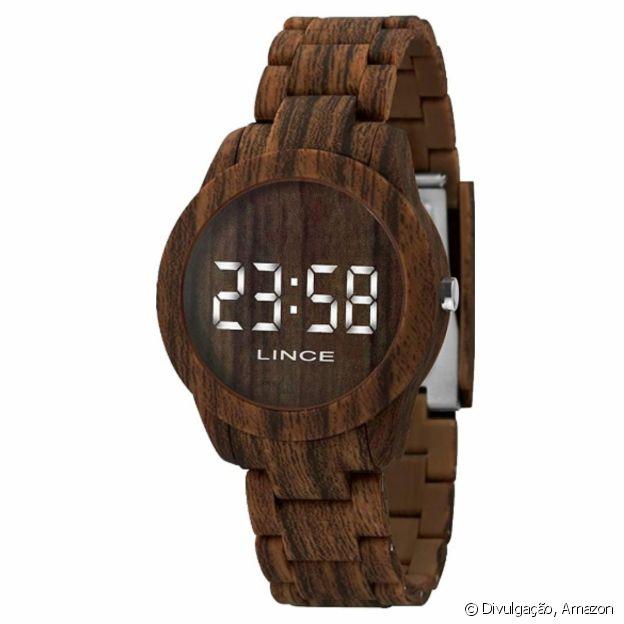 Relógio Marrom com visor de LED, da Lince