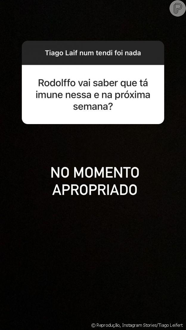 Tiago Leifert indica que Rodolffo saberá que está imune por 2 semanas