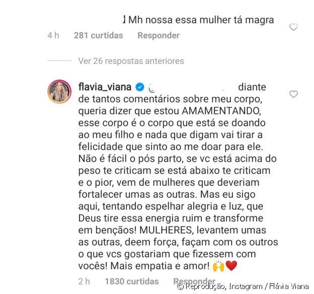 Flávia Viana rebate comentário de seguidora sobre corpo